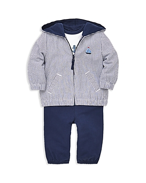 Little Me Boys Sails 3Piece Zip Hoodie Bodysuit  Leggings Set  Baby