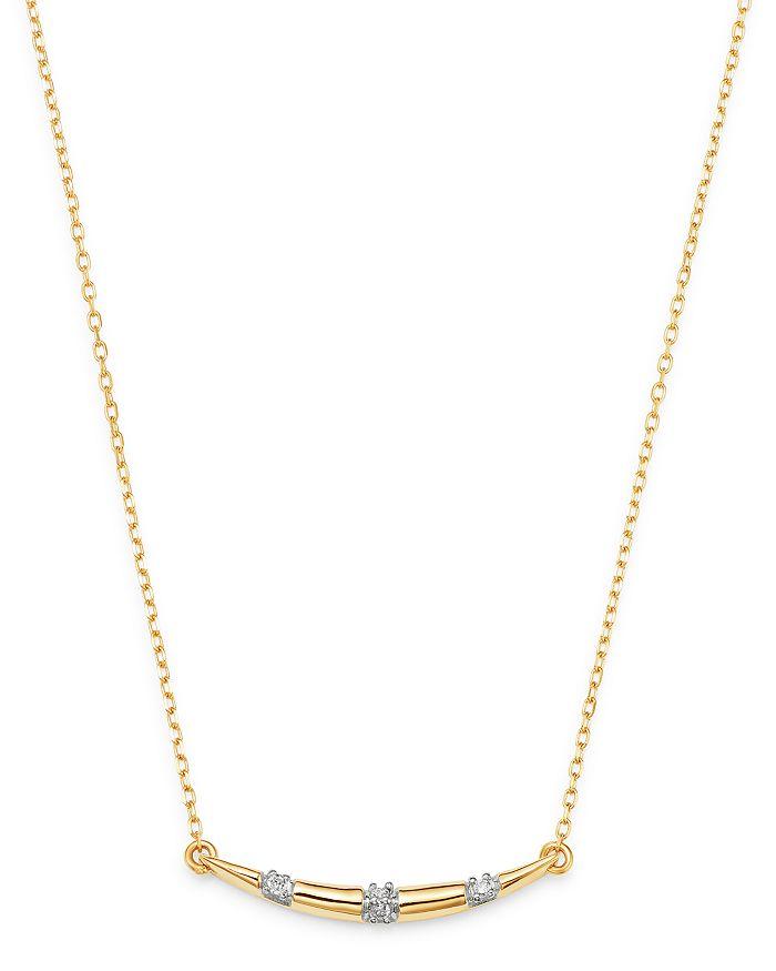 "Adina Reyter - 14K Yellow Gold Pavé Diamond Curved Bar Pendant Necklace, 16"""