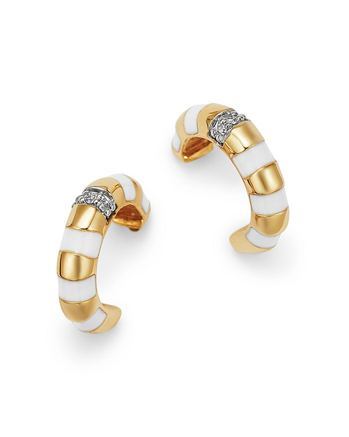 4b4ba9073 Adina Reyter - 14K Yellow Gold Pavé Diamond Striped Huggie Hoop  Earrings