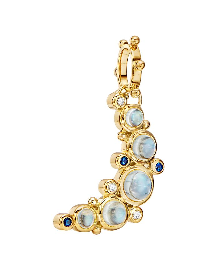 Temple St. Clair - 18K Yellow Gold Celestial Diamond, Blue Moonstone & Blue Sapphire Crescent Moon Pendant
