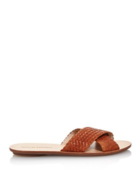Loeffler Randall - Women's Claudie Metallic Woven Leather Slide Sandals