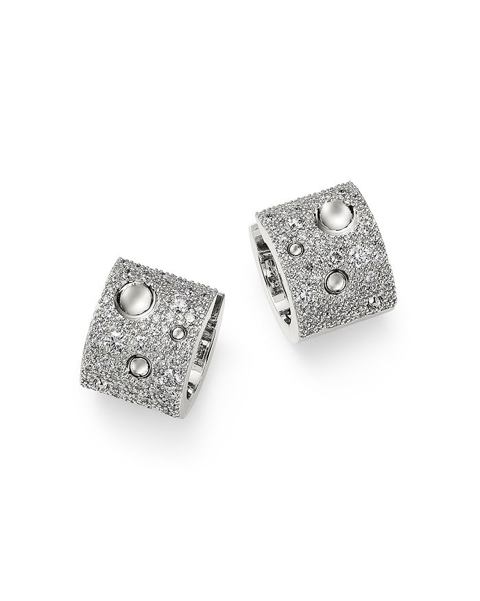 Roberto Coin - 18K White Gold Pois Moi Luna Pavé Diamond Hoop Earrings