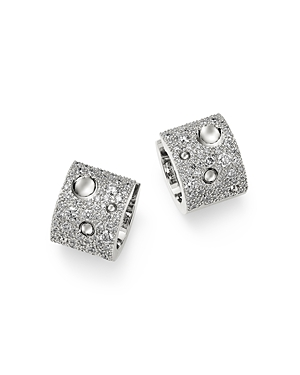 Roberto Coin 18K White Gold Pois Moi Luna Pave Diamond Hoop Earrings