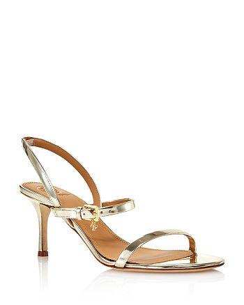 Tory Burch - Women's Penelope Open-Toe Metallic Leather High-Heel Slingback Sandals