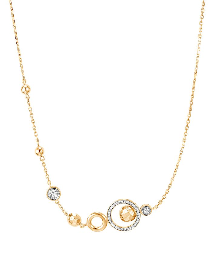 JOHN HARDY - 18K Yellow Gold Dot Chain Pull-Through Necklace with Pavé Diamonds, 18""