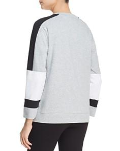 Donna Karan - Mixed Media Color Block Sweatshirt