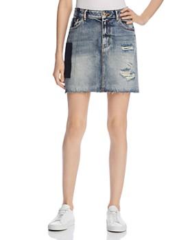 Scotch & Soda - Distressed Patchwork Denim Skirt
