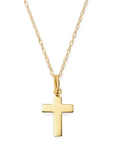 """Moon & Meadow - 14K Yellow Gold Cross Pendant Necklace, 16""""-18"""" - 100% Exclusive"""