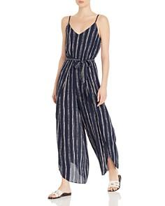 AQUA - Striped Wide-Leg Jumpsuit - 100% Exclusive