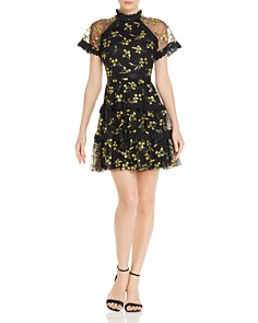 AQUA - Floral-Embroidered Dress - 100% Exclusive