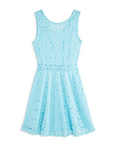 AQUA - Girls' Illusion Lace Fit-and-Flare Dress, Big Kid - 100% Exclusive
