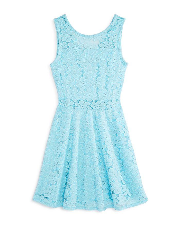 AQUA - Girls' Illusion Lace Fit-and-Flare Dress, Big Kid - 100% Exclusive