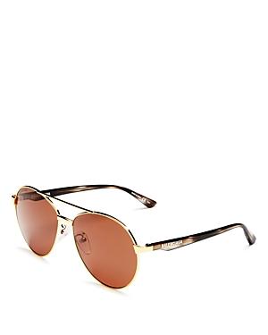Balenciaga Men's Brow Bar Aviator Sunglasses, 55mm