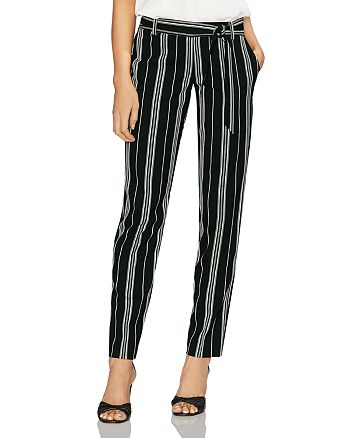 VINCE CAMUTO - Belted Striped Straight Pants