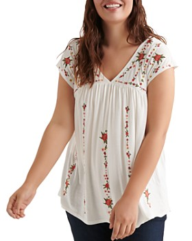 356076e2edb8 Lucky Brand Plus - Floral Embroidered Top ...