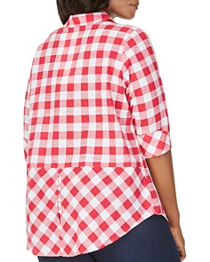 Foxcroft Plus - Dara Gingham Button Front Top