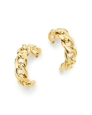Zoe Chicco 14K Yellow Gold Medium Curb Chain Huggie Hoop Earrings-Jewelry & Accessories