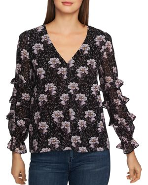 Image of 1.state Bloomsbury Floral Print Ruffle-Sleeve Top