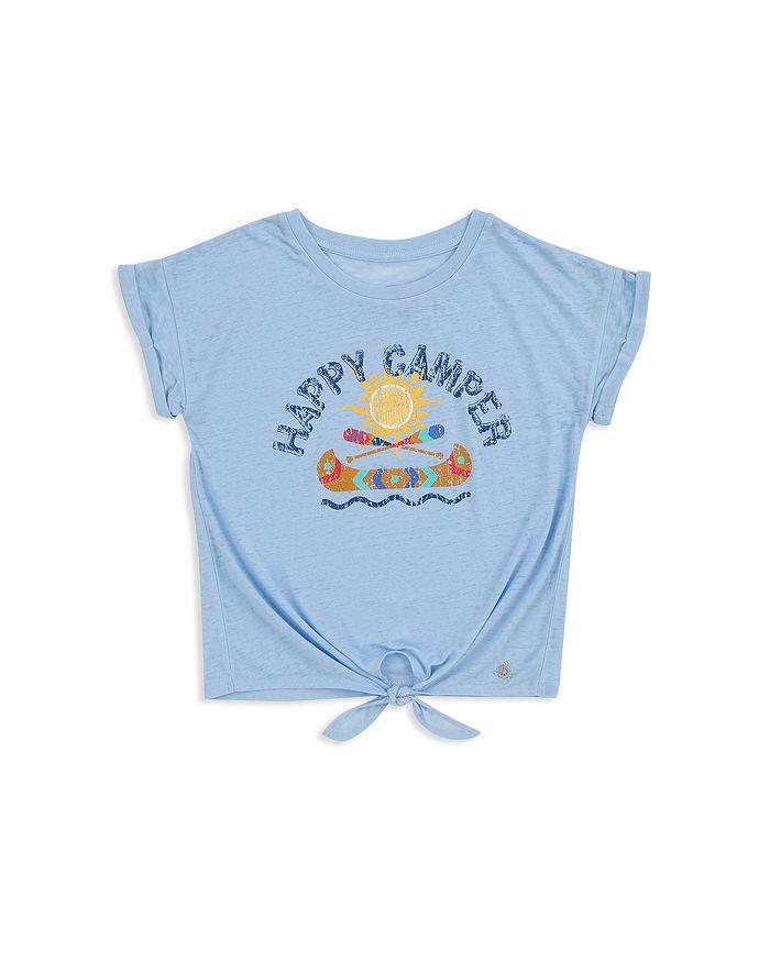 Butter - Girls' Happy Camper Tie-Front Tee - Little Kid, Big Kid