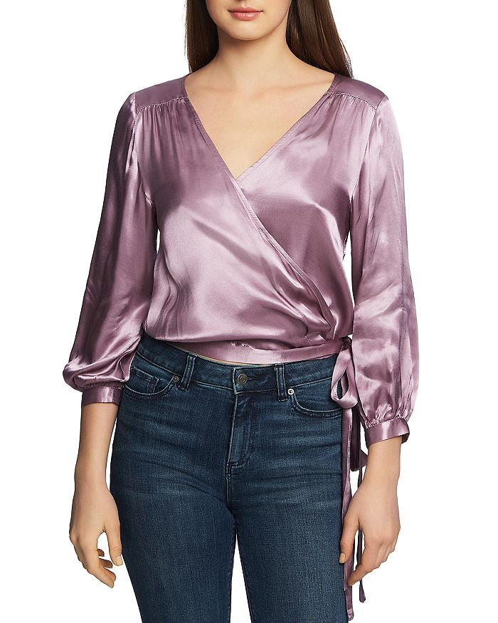 1.STATE - Satin Wrap-Front Top