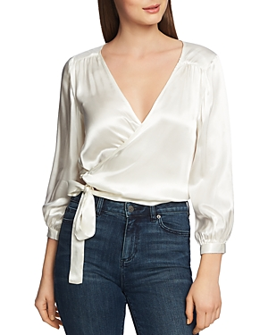 1.state Tops SATIN WRAP-FRONT TOP