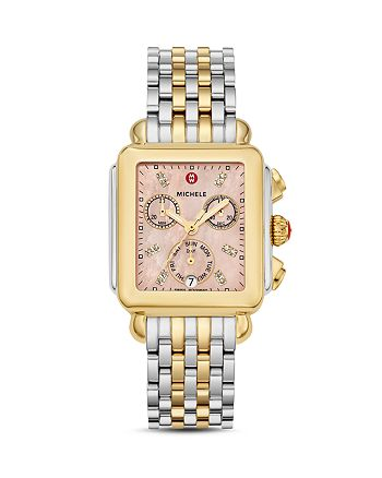 MICHELE - Deco Two-Tone Diamond Dial Watch Head, 33mm x 35mm - 100% Exclusive