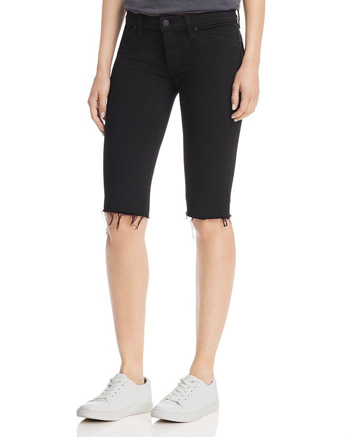 Hudson - Amelia Knee Raw-Hem Denim Shorts in Black