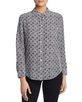 Relative Pi - Floral Print Silk Button Front Top