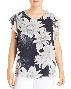 26eeed9a6f2 VINCE CAMUTO Plus - Floral Print Chiffon Blouse ...