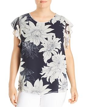 6f0b5cef7f3a3 VINCE CAMUTO Plus - Floral Print Chiffon Blouse ...