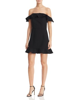 FRENCH CONNECTION - Whisper Light Flounced Square-Neck A-Line Mini Dress