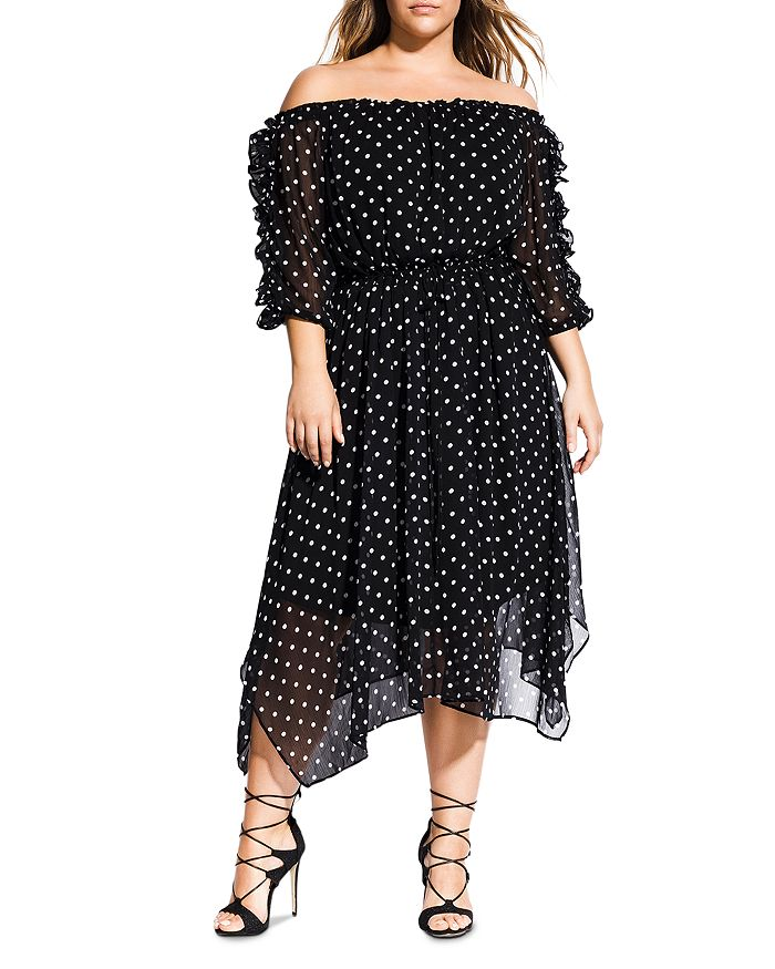 City Chic Plus - Off-the-Shoulder Dot-Print Dress