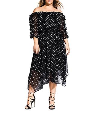 City Chic Plus Off-the-Shoulder Dot-Print Dress