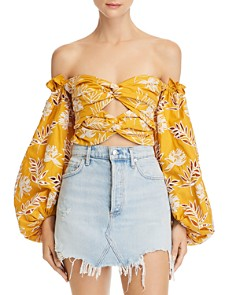 Amur - Off-the-Shoulder Floral Embroidered Cropped Top