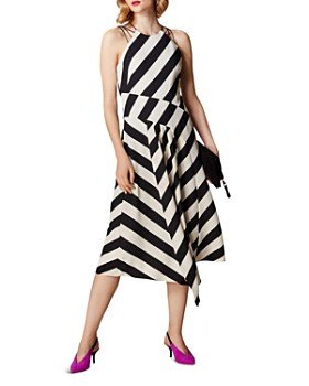 KAREN MILLEN - Sleeveless Striped Midi Dress