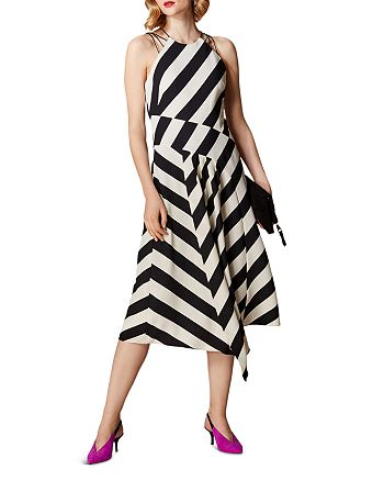 KAREN MILLEN - Sleeveless Striped Midi Dress