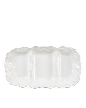 VIETRI - Incanto Stone White Lace Medium Three-Part Server