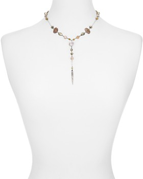"""Chan Luu - Multi Stone & Cultured Freshwater Pearl Lariat Necklace in 18K Gold-Plated Sterling Silver or Sterling Silver, 16"""""""