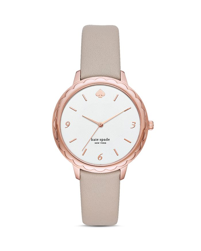 kate spade new york - Morningside Taupe Leather Strap Watch, 38mm