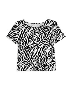 AQUA - Girls' Zebra Print Scuba Tee - 100% Exclusive