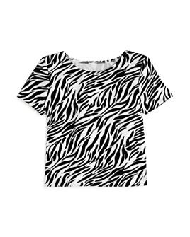 AQUA - Girls' Zebra Print Scuba Tee - 100% Exclusive
