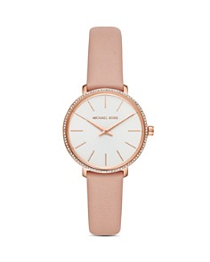 Michael Kors - Pyper Pink Leather Strap Watch, 38mm