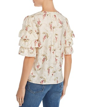 Rebecca Taylor - Ivie Floral-Print Ruffled-Sleeve Top