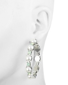 Carolee - Simulated Pearl & Stone Hoop Earrings