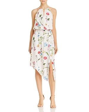 Parker Dresses HERLEY ASYMMETRIC FLORAL-PRINT SILK DRESS