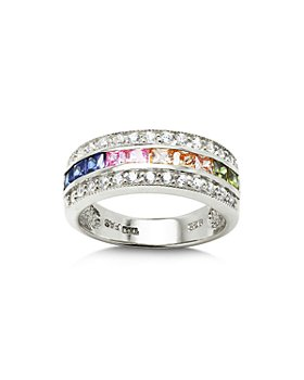 AQUA - Multi Row Rainbow Ring in Sterling Silver - 100% Exclusive