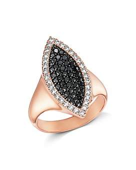 Bloomingdale's - Pavé Black & White Diamond Ring in 14K Rose Gold - 100% Exclusive
