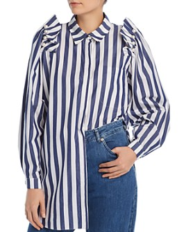 No Frills by Mother of Pearl - Embellished Stripe Shirt
