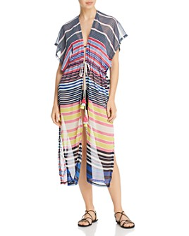 Echo - Striped Midi Caftan Swim Cover-Up