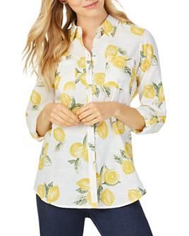 Foxcroft - Zoey Lemon-Print Shirt